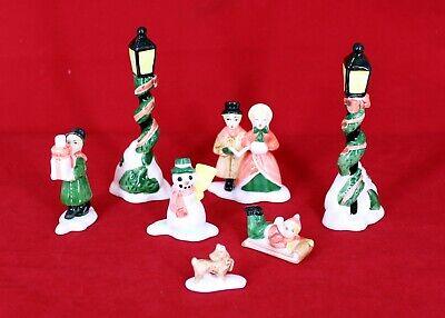 VINTAGE FITZ & FLOYD 7 PC CHRISTMAS CAROLERS 2 LAMPPOST SNOWMAN FIGURINES