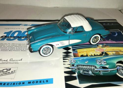 1/24 Diecast Franklin Mint 1960 Corvette Convertible COA, Tag & Brochure no box