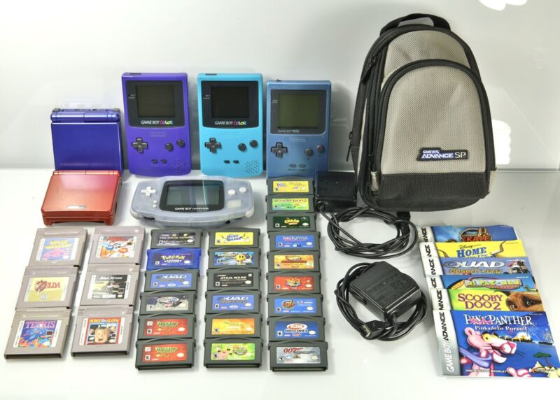Lot of 27 Game Boy Games + 6 Consoles, Advance SP, Color.  All Functional
