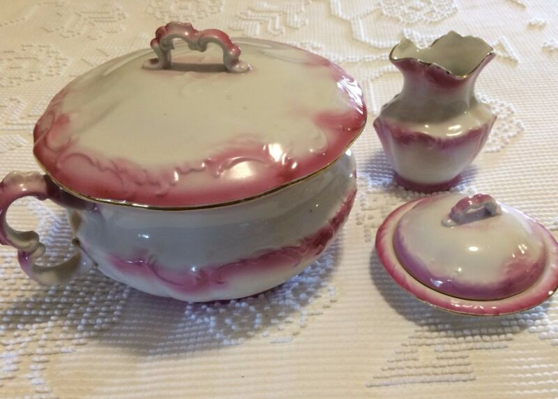 Chamber Pot set, semi-polcelain, 5 pieces