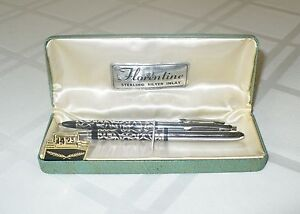 VINTAGE-FLORENTINE-PEN-PENCIL-WRITING-INSTRUMENT-SET-STERLING-SILVER-INLAY