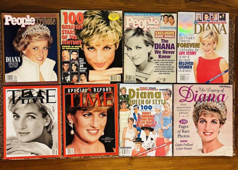 Princess Diana Magazine Lot Of 8 Legacy Tribute Commemorative Issues EUC