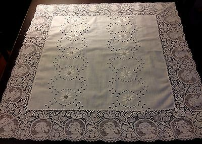 Lovely Broderie Anglese Ladies Cameo Lace Trim White Tablecloth