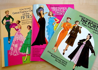 LOT # 3-FASHION DESIGNS OFTHE THIRTIES/FORTIES/FIFTIES-PAPER DOLLS TIERNEY-DOVER
