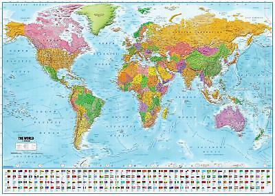Poster XXL Mappa del mondo con bandiere Versione 2018 140 x 100 cm