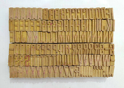 Vintage Letterpress Woodwooden Printing Type Block Typography 124 Pc 20mmlb144