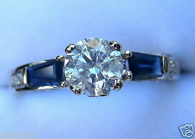 - 1.58 Ct Round Diamond Solitaire with Blue Sapphire Baguette 14k White Gold Ring