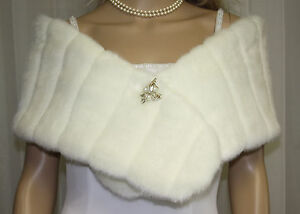 IVORY-BRIDAL-MINKY-FAUX-FUR-WRAP-SHRUG-STOLE-SHAWL-NEW