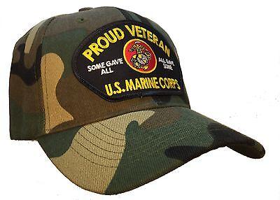 Proud Veteran Hat Camo Ball Cap U.S.M.C. Marine Corps Veteran Vet Hat