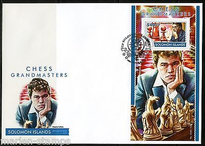 SOLOMON ISLANDS  2015  CHESSMASTERS ANAND & MAGNUS  CARLSEN   S/S  FDC