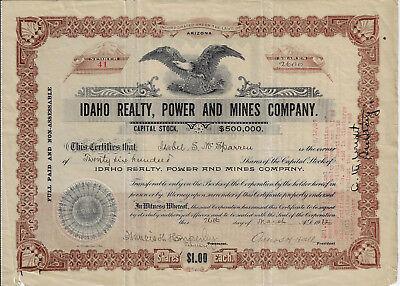 Idaho 1912 Idaho Realty  Power   Mines Co Stock Certificate Arizona Dixie  41