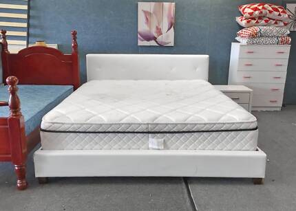 DELIVERY TODAY MODERN King LEATHER bed & TOP PILLOW mattress