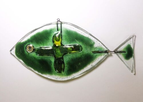 MODERNIST HAND BLOWN CLEAR GLASS & WIRE ABSTRACT YELLOW/GREEN STAINED GLASS FISH