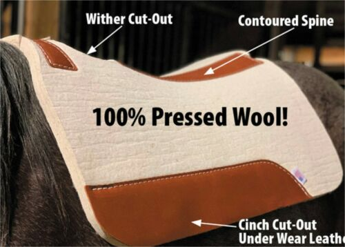 100% Pressed Wool (Contoured) Barrel Saddle Pad - DURABLE AND TOUGH - NEW