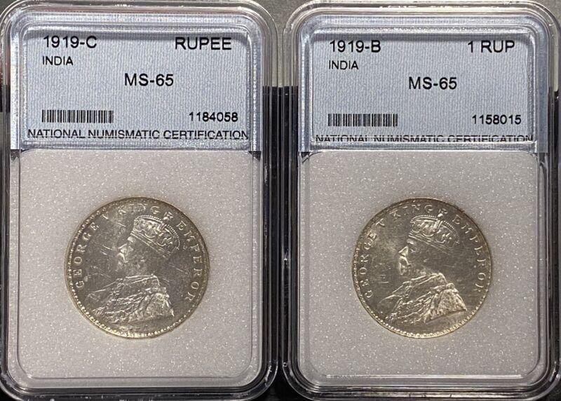 Lot of 2 British India One rupees - George V - 1919 B & C. Unc