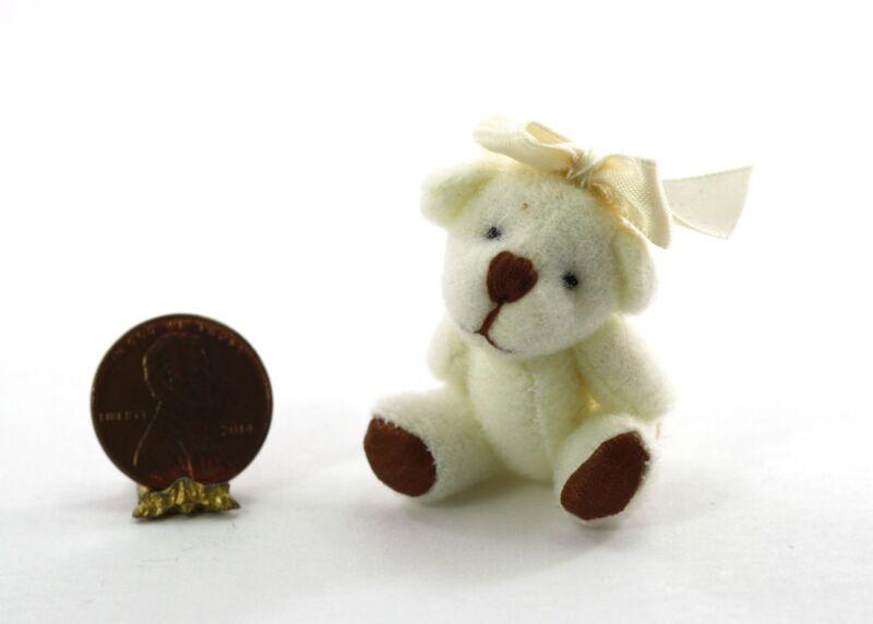 Dollhouse Miniature 1:12 White Teddy Bear with Bow