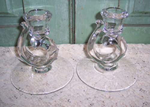 Pair Vintage Fostoria Century Single Candlestick Holders Clear Glass Taper