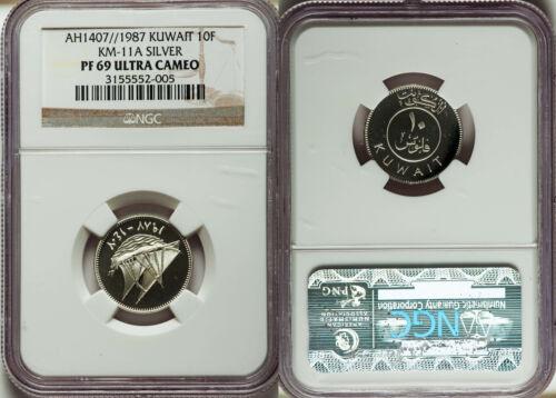 Rare 1987 Kuwait Silver Proof 10 Fils NGC PF 69 UC