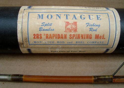 Vintage Montague 2 RS Rapidan Split Bamboo Spinning Med. Fishing Rod (item # 1)