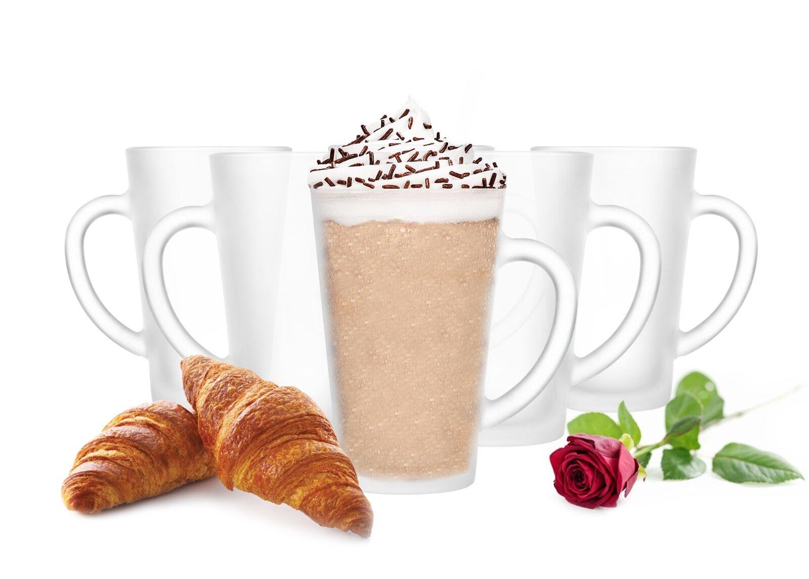 6 latte macchiato Occhiali 300 ml con maniglia 6 Cucchiaio (GRATIS) vetro