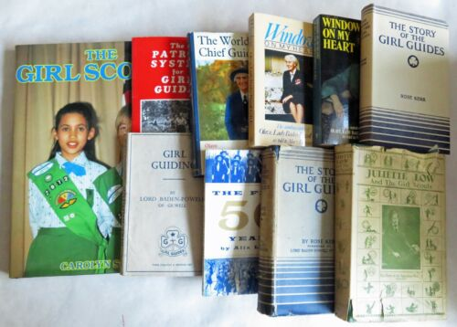 10 different books: Girl Scouts, Girl Guiding, Juliette Low, Olave Baden Powell