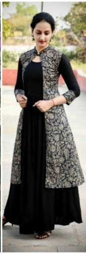 Beautiful Indian Ethnic Long Kurti with Gold Printed Shrug