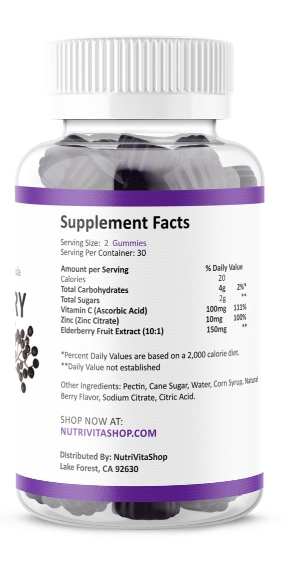 Black Elderberry Gummies Vitamin C Zinc 260mg Natural Berry Flavor Immune Boost  1