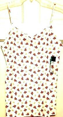 Womens Camisole Top White Floral No Bo Ribbed Comfort Cinch Neckline NWT XL L - Comfort Cami