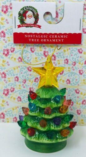 "NWT Retro Mr Christmas Green Ceramic Tree Ornament 3.75/3.5"" Vintage Style"