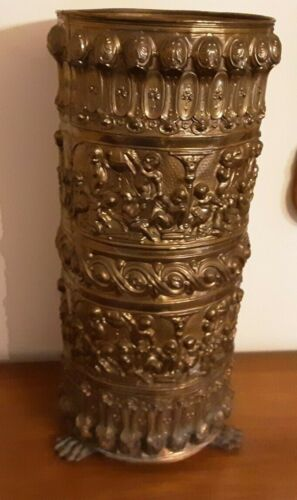 "ANTIQUE VINTAGE CHERUB PUTTI REPOUSSE 24"" TALL UMBRELLA CANE STAND HOLDER"