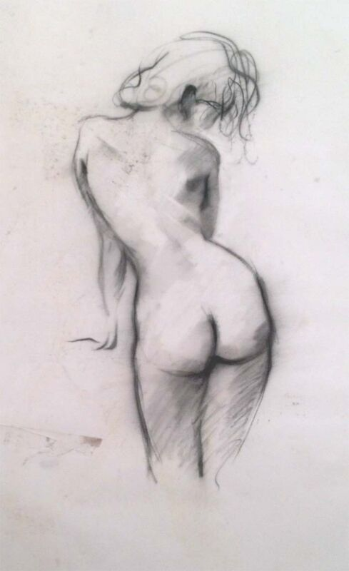 """Julian Ritter - """" Nude Lady - 9 """" Charcoal on Vellum 19""""x 22"""" Un-Signed- 268"""