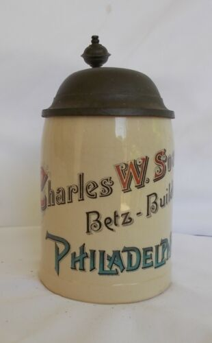 PRE PROHIBITION LIDDED ADVERTISING STEIN HISTORIC BETZ BUILDING PHILADELPHIA