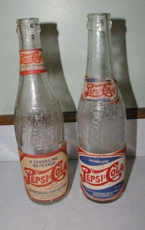 2 Different Paper Label Pepsi bottles Menands NY & Altoona Pennsylvania