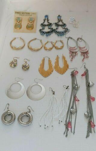Lot 12 Assorted Artsy Pierced Earrings Two Sisters & Unbranded Drop Hoop Dangle
