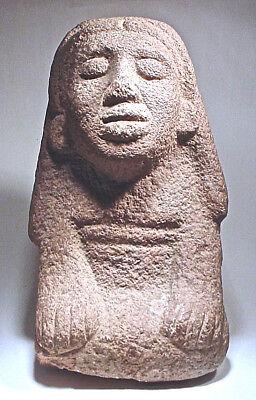 Pre-Columbian AZTEC  STONE FEMALE SCULPTURE w/COA