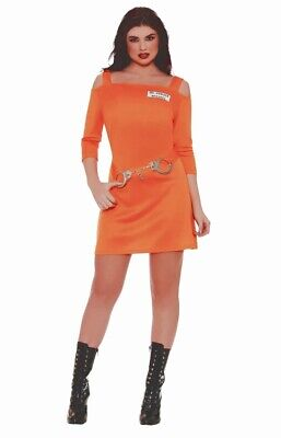 Womens Orange Prisoner Costume (Inmate Prisoner Costume Womens Size 1X Adult Sexy Orange Dress Handcuffs)