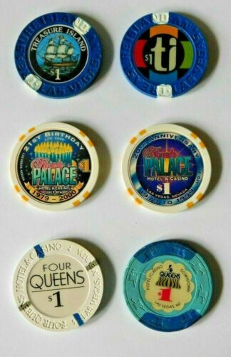 6 Vintage Casino Poker Chips $1 Treasure Island Nevada Palace Four 4 Queens