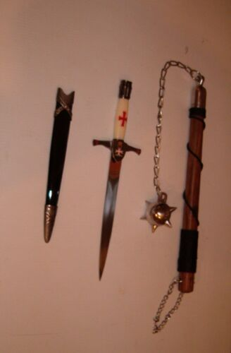 MEDIEVAL CRUSADER DAGGER + 1 BALL BATTLE MACE,FLAIL,MIDDLE AGES, FREE SHIPPING
