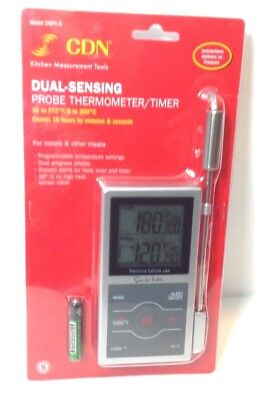 CDN Dual-Sensing Digital Probe Thermometer/Timer, Silver, DSP1-S for Meats, NEW