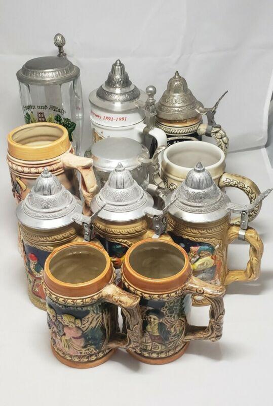 German/Japan made Beer Stein mugs lot of 11