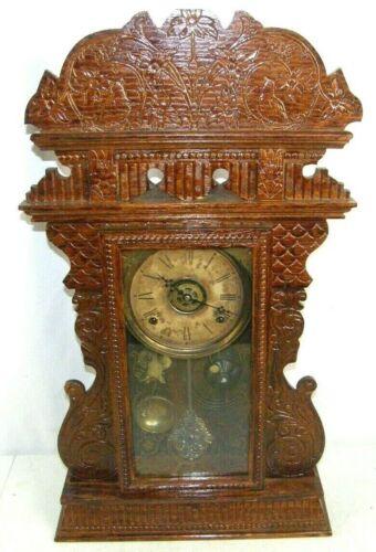 Antique W L Gilbert Clock Co. Gingerbread Mantel Clock w/ Alarm Songbirds