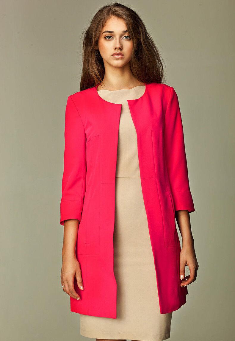 veste ouverte de tailleur rose longue l gante femme z04 nife 36 38 40 42 44 ebay. Black Bedroom Furniture Sets. Home Design Ideas