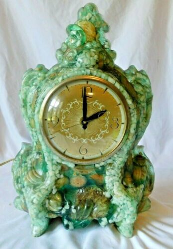 Vintage Green Resin and Rock  Vomit Shelf Mantel Table Clock WORKING