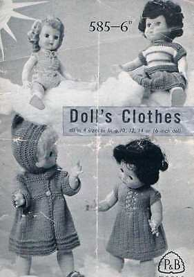 "Vintage Knitting Pattern for Dolls Clothes to fit 10-16"" doll - Printed copy"