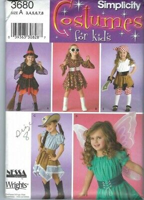 USED Simplicity 3680 Costumes for Kids Witch Fairy Cowgirl Dress Size 8 Girls ](Cowgirls Costumes For Kids)