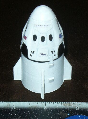 rare 3D printed NASA Space X Dragon Crew Capsule & Service module hand painted