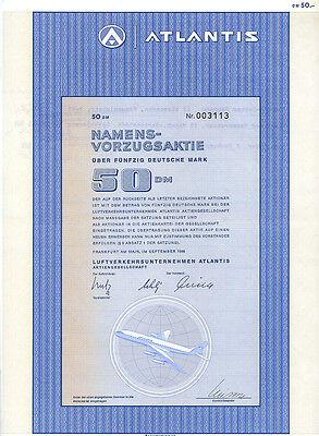 Frankfurt am Main Luftsverkehrsunternehmen Atlantis Vorzugsaktie 50 DM 1969