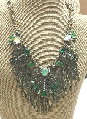 Fashion Necklace CrystaL EMERALD oPAL Acrylic Cast Brass Leaf Dripping Statement