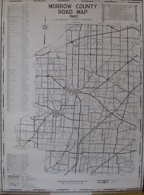 Rolled Morrow County Road Map Mt. Gilead Cardington Sparta Fulton Edison OH 1960