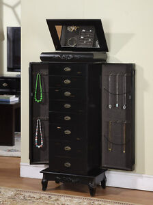 8 drawer jewelry armoire with mirror lid and ring rolls all felt lined
